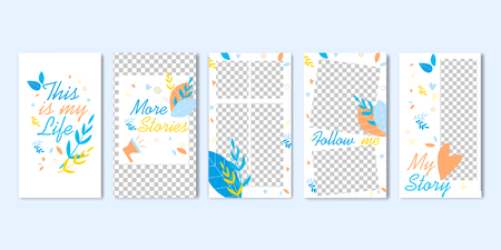 This is My Life. More Story. Follow Me Highlight Cover Set Vector Illustration. Stories Frame Template with Transparent Background. Social Media Banner. Personal Photo Blog. Mobile Phone Application