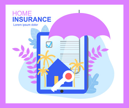 Home Insurance Contract Sign Umbrella Protection House Key Vector Illustration. Damage Financial Cover Accurance Security Family Real Estate Purchase Rent Offer Document Sell