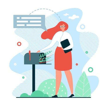 Flat Banner Waiting for Mail Vector Illustration. Girl in Casual Clothes Opens Mailbox. Woman is Waiting for Response in Mail. Communication without Use Modern Technology. Open Letter. Ilustração