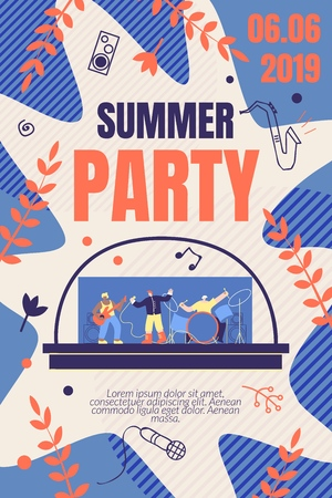Illustration Summer Party Vector Banner. Promotion and Distribution Information about Upcoming Music Event. Style Musical Group Men Plays Live Music on Instruments. Cartoon Flat.