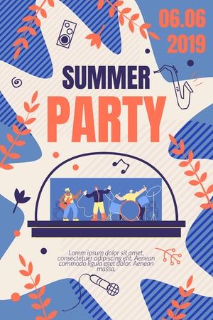 Ilustracja Summer Party wektor transparent. Promocja i dystrybucja informacji o nadchodzącym wydarzeniu muzycznym. Style Musical Group Men gra muzykę na żywo na instrumentach. Mieszkanie kreskówka.