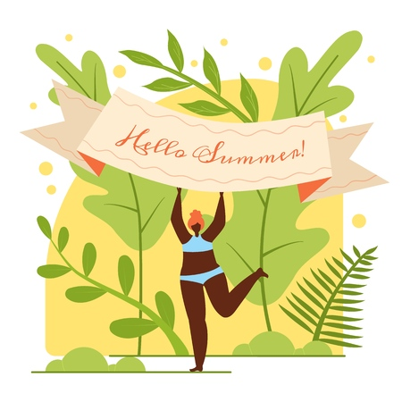 Flat Banner is Written Hello Summer, Cartoon. Dark-skinned Woman in Bathing Suit Rejoices Summer. Colorful Summer Tourist Destination. Joy Upcoming Warm Holiday Season. Vector Illustration.