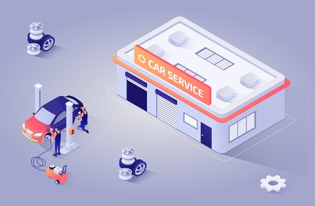 Isometric Illustration for Automotive Paint Shop or Car Service. Workers Polishing, Refinishing and Painting Automobile. Vector 3d with Repair Building or Garage Station. Teamwork Process