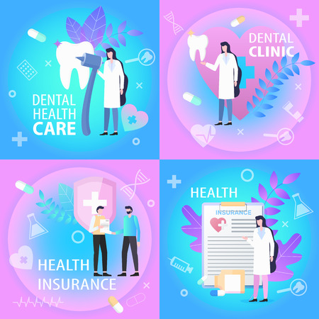 Dental Clinic Health Care Insurance Banner Set. Doctor Dentist Tooth Treatment Man Sign Contract Vector Illustration. medical Professional Service Money Bill Coverage Patient Support