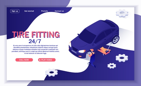 Landing Page for Online Round-the-Clock Car Service Offers Tire Fitting. Vector 3d Illustration with Isometric Car on Adjustable Jack and Place for Text. Master Repairs Automobile, Replaces Wheels