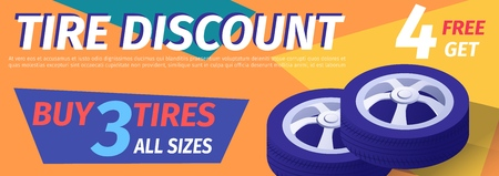 Advertisement Offering Car Tire Discount. Realistic Isometric Auto Wheels and Editable Text. Vector 3d Illustration on Color Backdrop. Promotion Header Banner for Automotive Service, Garage