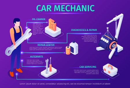 Banner with Infographic Icons and Header Car Mechanic. Advertisement for Auto Service with Description of Automobile Maintenance. Master Holding Big Wrench in Hand. Vector Isometric 3d Illustration