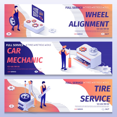 Set of Banners for Repair and Tire Fitting Service. Lettering Templates with Inscription Wheel Alignment, Car Mechanic, Tire Service. Repairmen and Mechanics at Work. Vector 3d Isometric Illustration
