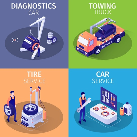 List Services in Car Garage. Set of Isometric Cards. Banners with Evacuator Driving Car, Crane Lift Holding Engine, Equipment for Tire Fitting, Tools for Car Repair, Masters. Vector 3d Illustration