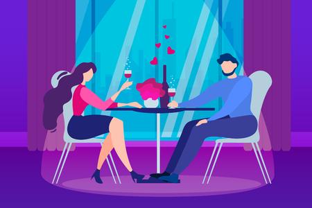 Cartoon Man and Woman Couple. Romantic Evening Restaurant Table Vector Illustration. Anniversary Celebration, Boyfriend Girlfriend Dating, Relationship. Indoors Dinner at Kitchen Room Love Date Ilustração