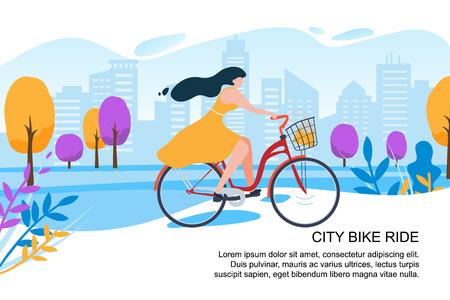 Felice Cartoon Girl Ciclista Ride Bike su City Street Vector Illustration. Donna in abito con bicicletta. Albero del parco della costruzione della città. Trasporto urbano. Attività all'aperto. Fitness femminile stile di vita sano