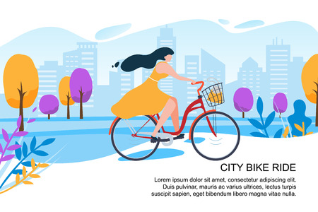 Happy Cartoon Girl Cyclist Ride Bike on City Street Vector Illustration. Woman in Dress with Bicycle. Town Building Park Tree. Urban Transport. Outdoors Activity. Female Fitness Healthy Lifestyle