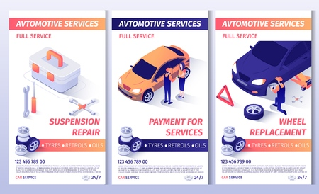 Set of Advertising Brochure for Automobile Service. Flayers with Contact Information and List of Services. Suspension Repair, Payment for Work and Wheel Replacement Posters. Vector 3d Illustration Illustration