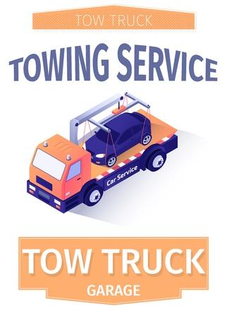 Werbebeschriftungsplakatvorlage für Abschleppdienst oder Poster für Abschleppgarage. Flyer mit Wrecker Truck, der abgestürztes Auto fährt. Unterstützung bei der Lieferung von Autobergungen. Vektor isometrische 3D-Illustration