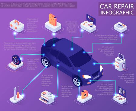 Car Repair Service Infographic. Isometric Banner Template with Information about Auto Spare Parts and System. Vector 3d Illustration with Place for Text. Maintenance and Servicing Market Concept Illustration