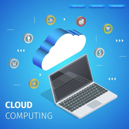 Cloud Computing Square Banner with Copy Space. Flowchart. Data Center Hosting Server Connected with Laptop. Application Icons on Blue Neon Glowing Gradient Background. 3D Isometric Vector Illustration