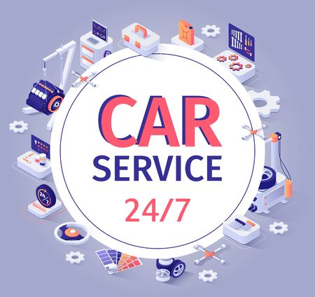 Car Service Banner Offer 24 to7 Customer Support. Fulltime Auto Maintenance in Automobile Shop Garage.   Center and Isometric Repair Tools and Equipment Icons around. Vector 3d Illustration