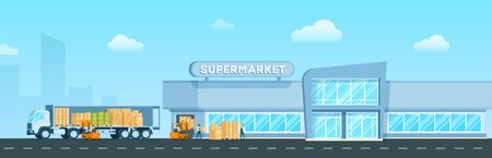 Express Truck Delivering Goods to Supermarket. Warehouse Delivery Freight, Box to Modern Glass City Mall. Storage Distribution. Worker Unload Package form Van. Flat Cartoon Vector Illustration Stock Illustratie