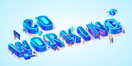 Isometric Projection Of Word Coworking. Team Collaboration and Brainstorming in Business Process. Company Analytics Information. Miniature People in Hi-Tech Smart Neon City. Flat Vector illustration Stock Illustratie