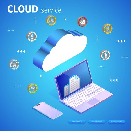 Cloud Service Square Banner, Copy Space. Computing Service Concept. Laptop and Web Server. Data Storage. Abstract Tech Pattern. Blue Neon Glowing Gradient Background. 3D Isometric Vector Illustration. Çizim