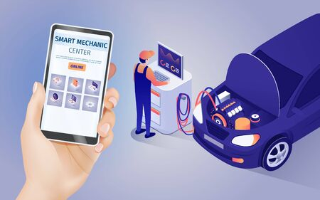 Mobile Application of Smart Mechanic Center Online. Male Hand Holds Phone with Running Auto Maintenance and Repair Shop App. Master and Testing Car with Opened Hood. Vector 3d Isometric Illustration