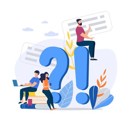Bright Banner Answers on Questions Cartoon Flat. Monitoring Implementation Tasks. Guy with Girl Looking for Information on Issue. Man Sits on Big Exclamation Mark. Vector Illustration.