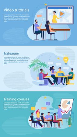 Set Informational Flyer is Written Brainstorm Flat. Banner Inscription Video Tutorials, Training Courses. Holding Meeting and Competent Assignment Tasks. People Discuss Working Issues at Meeting.