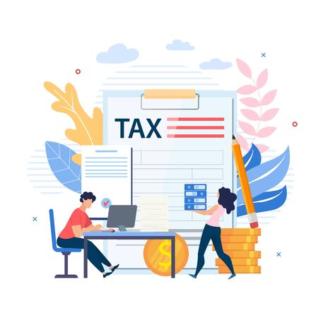 Bright Poster Inscription on Document Tax Flat. Banner Employees Work after Hours. Woman Carries Folders, Man Sits at Table and Carries Out Calculation Cartoon. Vector Illustration.