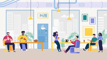 Flyer informativo para el personal de la oficina, sala de almuerzo plana. Diseño de oficina reflexivo. Hombres y mujeres se sientan en el comedor de la oficina y comen diferentes platos durante el almuerzo de dibujos animados. Ilustración de vector.