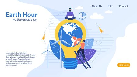 Informational Flyer Earth Hour, Cartoon Flat. Banner World Environment Day. Poster Inside Big Bulb is Planet. Guy Sits with Laptop on Top Light Bulb. Vector Illustration Landing Page.