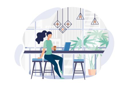 Advertising Poster Panoramic Window in Office. Banner Distraction and Relaxation in Office. Flyer Girl in Casual Clothes Drinks Coffee During Lunch Break Cartoon,. Vector Illustration. Ilustracja