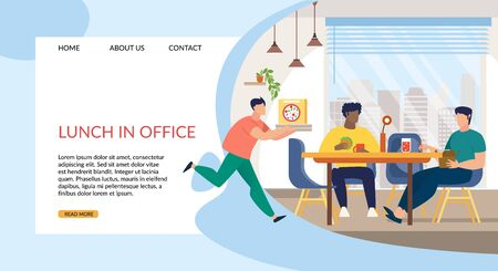 Informative Flyer Inscription Lunch in Office. Banner Men at Lunchtime at Work Eat Sandwiches and Drink Sparkling Water. Staff Room in Modern Office. Vector Illustration Landing Page.