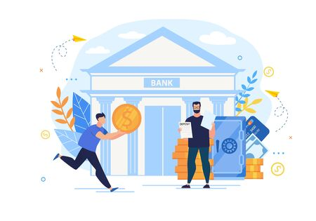 Bright Poster Interest Deposit to Bank Cartoon. Objects Financial Investment. Man with Gold Coin Runs to Bank, Next to it is Banker with Deposit Agreement Flat. Vector Illustration.