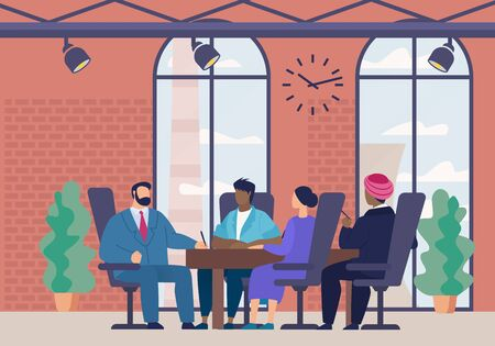 Informative Banner Meeting Leaders Cartoon Flat. Poster Men and Women Sit in Office and Sign Cooperation Agreement. Flyer Meeting Directors and Partners Company. Vector Illustration.
