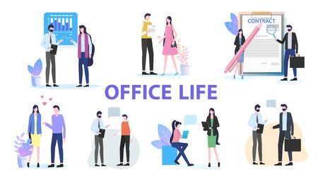 Office Life Group Man Woman Colleague Team Work Talk Discuss Contract Sign vector Illustration. Businessman Businesswoman Communication Coworker Frienship Love People Meeting Company Staff Ilustracja