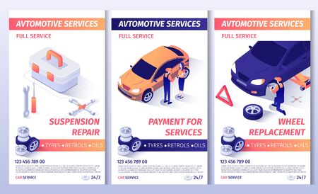 Set of Advertising Brochure for Automobile Service. Flayers with Contact Information and List of Services. Suspension Repair, Payment for Work and Wheel Replacement Posters. Vector 3d Illustration Ilustracja