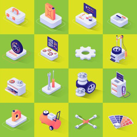 Set with Isometric Icons with Tools and Equipment for Automobile and Consumables Repair and Diagnostics, Wheel Replacement, Painting and Polishing. Vector 3d Illustration on Color Backdrop Иллюстрация