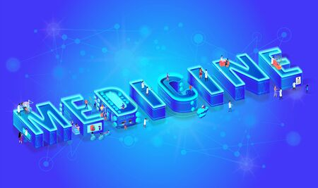 3d Neon Isometric Word Medcine on Gradient Background with Neural Network. Future Medical Technology. People Personnel Using Robotic, Augmented and Virtual Reality for Diseases Diagnosis and Treatment