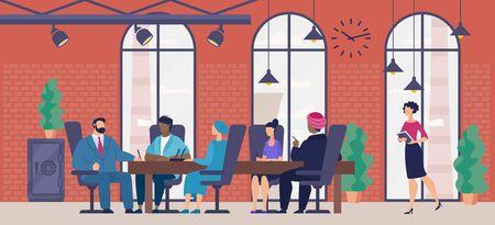 Reunión de negocios, presentación de proyectos en el concepto de Vector plano de oficina de empresa internacional. Líder de la empresa sentado en el escritorio, llevando a cabo negociaciones con socios extranjeros o ilustración de inversores