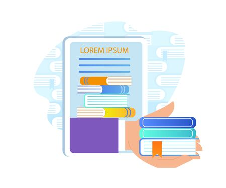 Hand Giving Books Out of Tablet or Smartphone. Electronic Library and Computing Reading Idea. E-Learning, Using Gadgets for Online Education Icon Isolated on White Background. Flat Vector Illustration