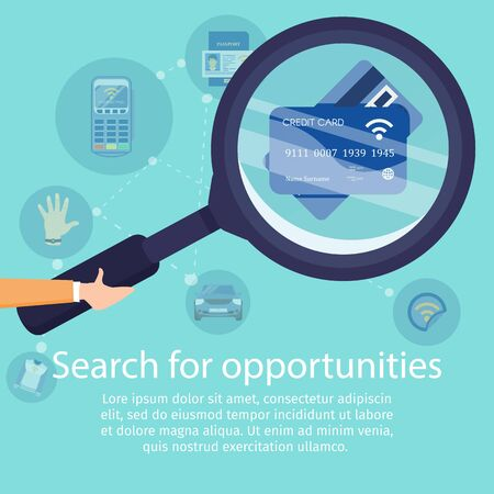 Search for Opportunities with NFC Technology Flat Vector Adv Banner. Banking Digital Services Poster Template. Human Hand Holding Magnifying Glass, Magnifying Credit Cards with NFC Chip Illustration Иллюстрация