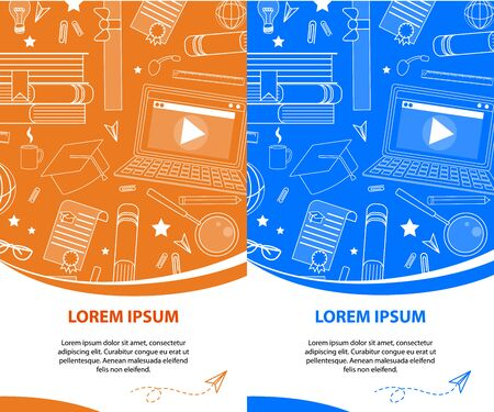 Set of Vertical Banners in Orange and Blue Color with Copy Space. School Accessories White Outline Ornament. Stationery Stuff Signs. Back to School, University, College Flyer. Vector Illustration.