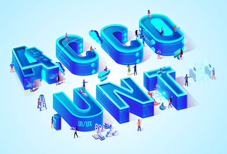 Vector 3d Neon Isometric Word Account on Cyan Blue Gradient Background. Little People Walking Among Huge Letters with Devices and Gadjets in Hands. User Interface and Experience Development Idea.