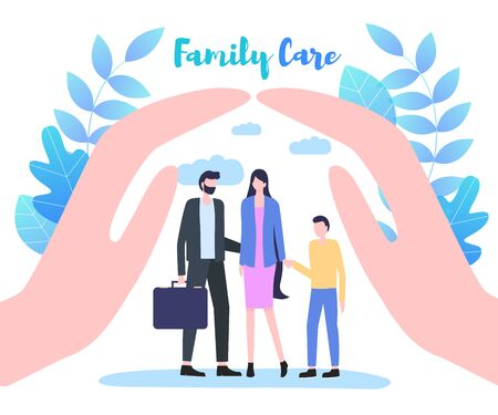 Cupped Hand Palms Protect Family Care Vector Illustration. Father Mother Son Relationship Support Life Protection Kid Safety Child Security Health Insurance Concept Parenthood Values