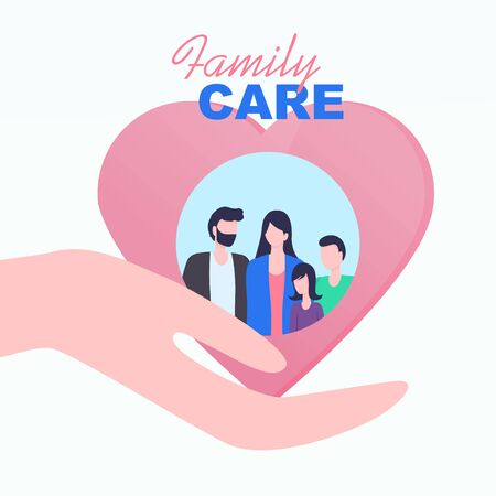 Cupped Hand Palm Heart Family Care Vector Illustration. Father Mother Daughter Son Relationship Medical Insurance Parent Protection Children Security Family Values Safety Love Support Ilustracja