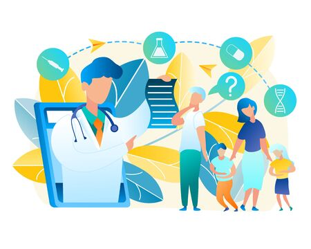 Vector Family Turned for Help Doctor Pediatrician. Illustration Men and Woman Consult Online with Doctor. Boy and Girl Holding to Sore Belly. Online Medicine Using Tablet Communication with Man Doctor Ilustrace