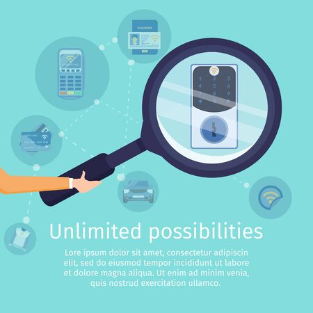 Unlimited Possibilities with NFC Technology Flat Vector Square Advertising Banner. Secure Access Service Promo Poster Template. Human Hand Holding Magnifying Glass, Magnifying Code Lock Illustration