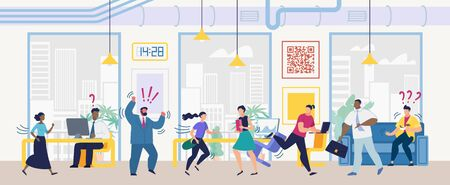 Angry Boss Screaming on Employees Because of Mistakes, Project Deadline Fail, Scared Office Workers Running Away from Mad, Aggressive Colleague Cartoon Vector Illustration. Stress at Work Concept Ilustracja