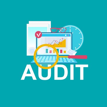Audit, Accounting Flat Vector Cartoon Illustration. Laptop, Coins on Blue Background. Bookkeeping, Investment, Analytics Concept. Graph Growth on Computer Screen Drawing. Clock, Time Management Idea Ilustracja