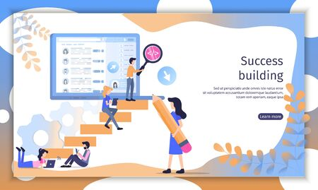 Successful Company Building Flat Vector Web Banner. Business People, Company Employees, Office Workers Working Together for Financial Growth Illustration. Investment Project Landing Page Template Ilustracja